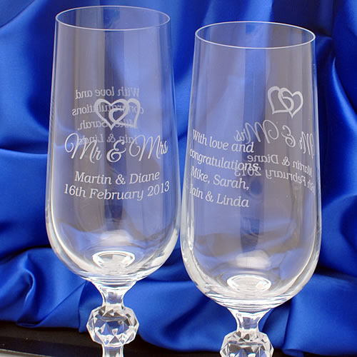 Engraved Crystal Champagne Flutes Love Hearts