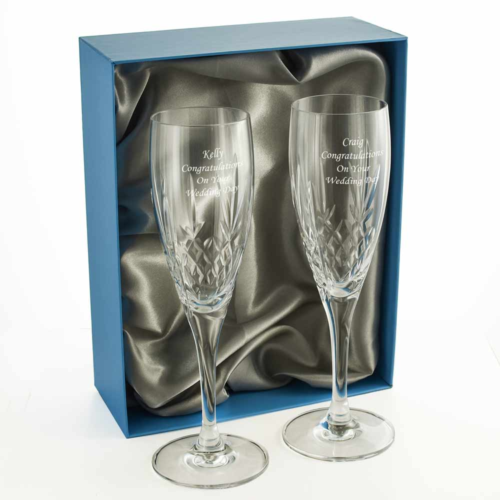 Mayfair 24 Lead Crystal Engraved Champagne Glasses