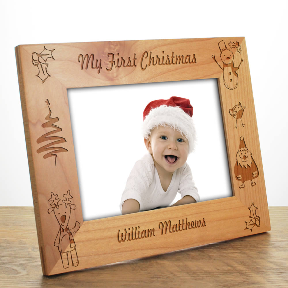 My First Christmas Personalised Wooden Photo Frame