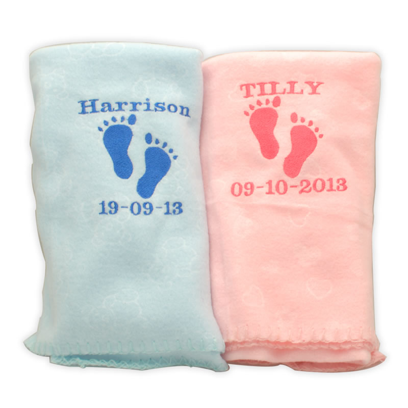 Personalised Baby Blanket Pink Blue And Cream Embroidered