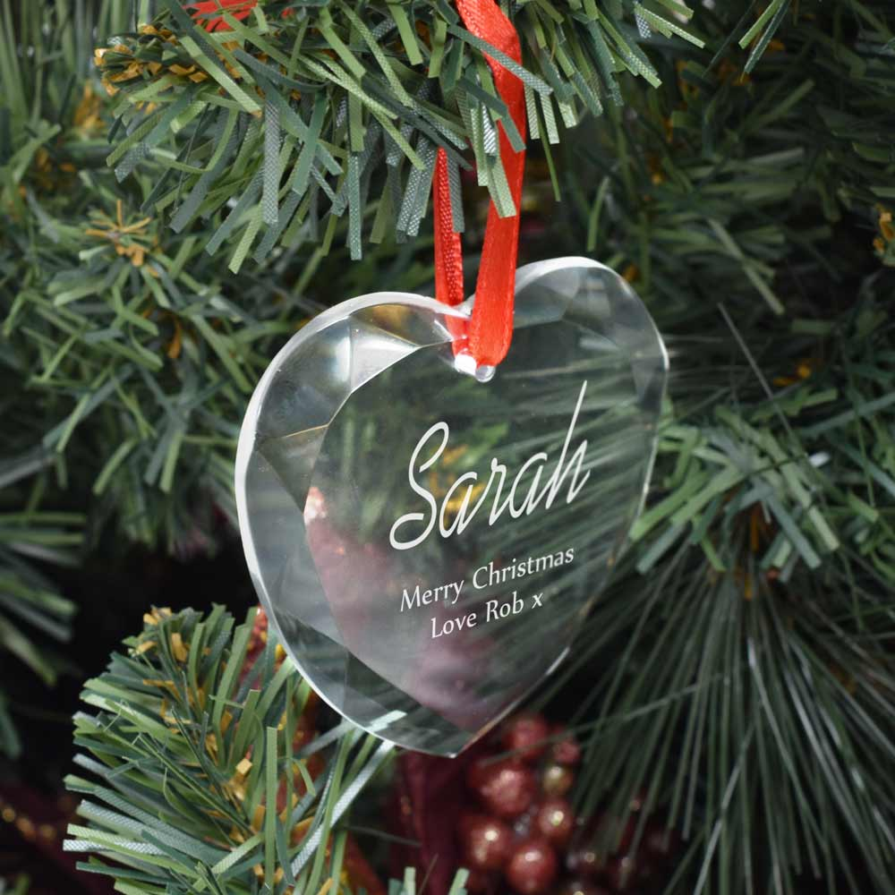 Personalised Christmas Tree Bauble Optical Crystal Heart