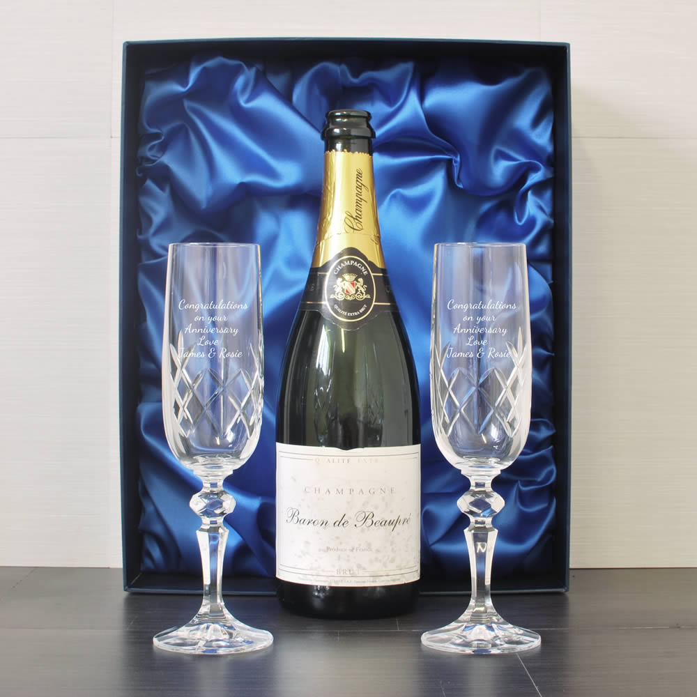 Engraved Crystal Flutes And Champagne Presentation Box