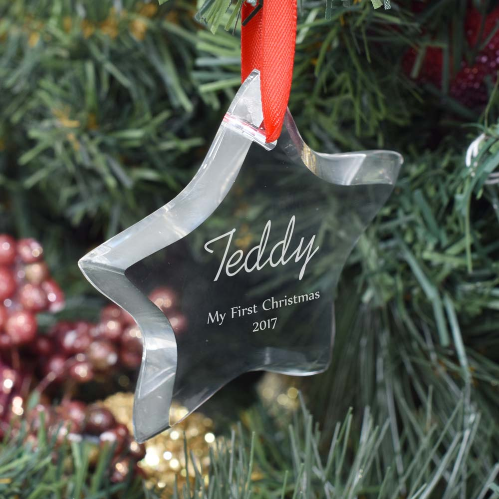 Exclusive personalised christmas bauble optical crystal star for Crystal baubles christmas