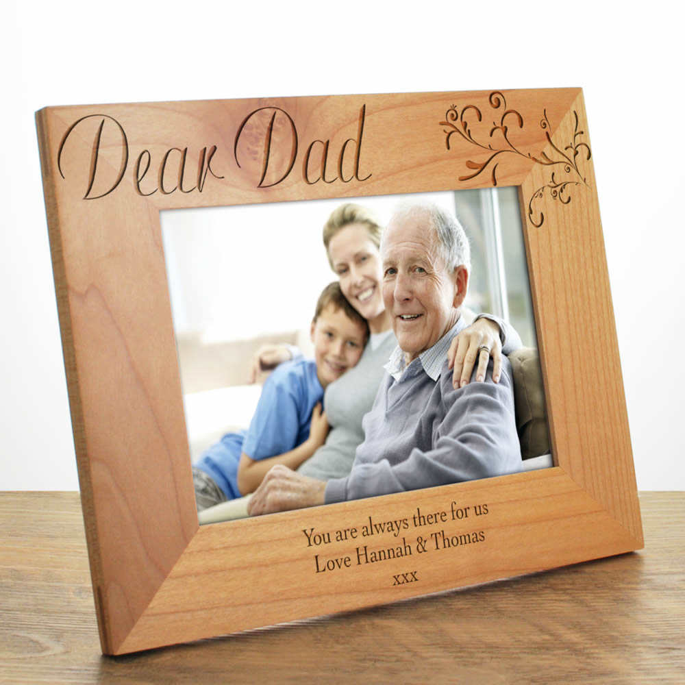 Personalised Photo Frame Dad, Laser Engraved Wooden Photo ...
