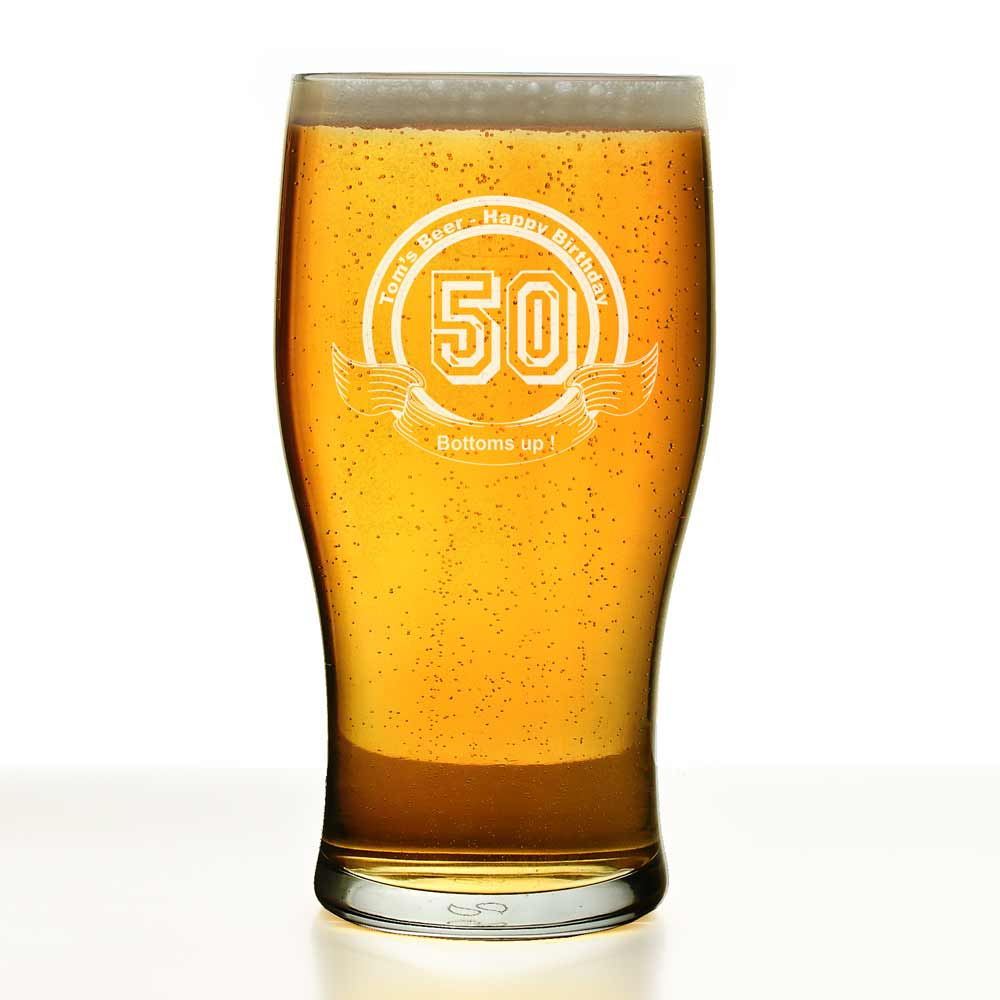 Personalised Pint Glass Birthday Any Year