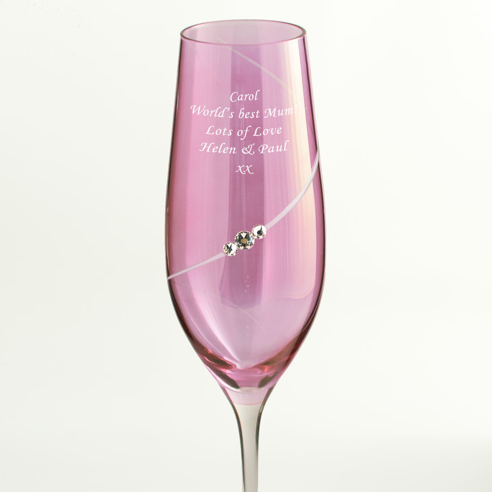 personalised pink champagne flute with swarovski elements. Black Bedroom Furniture Sets. Home Design Ideas