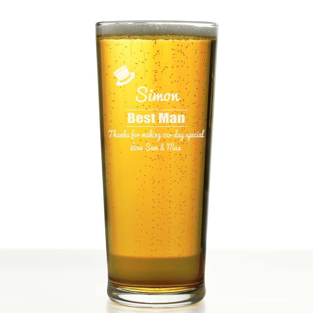 Personalised Pint Glass Top Hat Engraved By Keep It Personal
