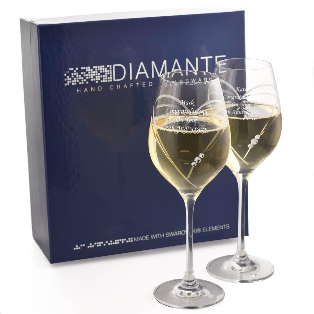 Personalised swarovski heart wine glasses with free gift box - Swarovski stemware ...