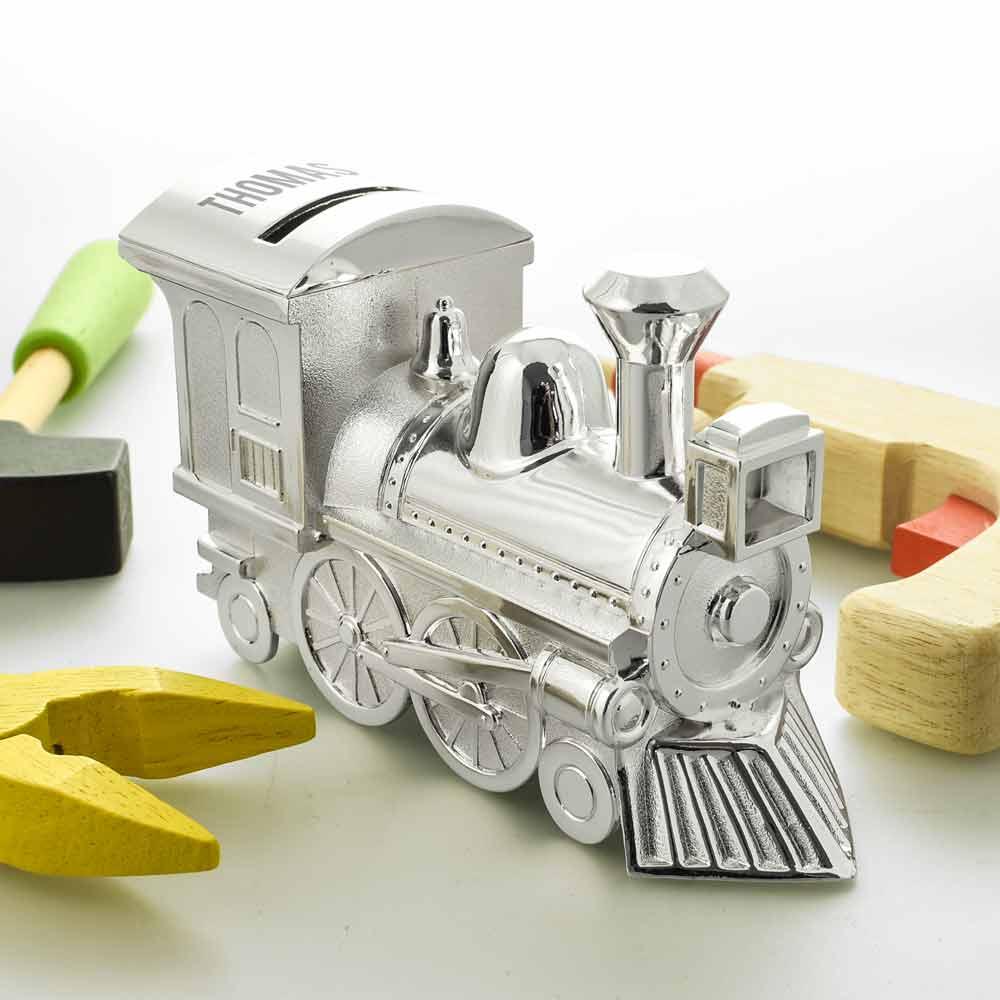 Personalised Silver Train Money Box Christening Gift