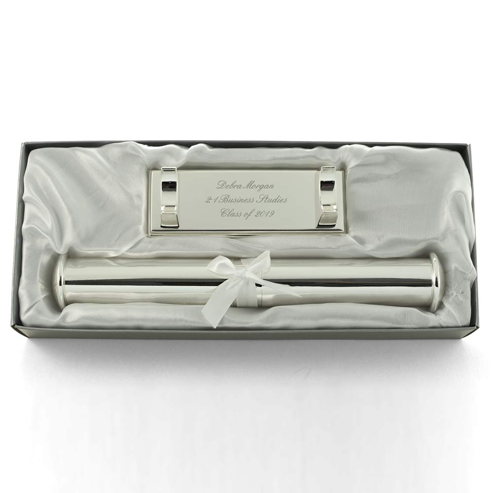 Silver Personalised Certificate Holder Engraved By