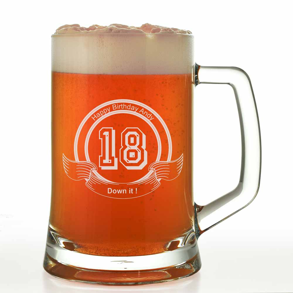 18th Wedding Anniversary Gift Ideas For Her: Personalised Pint Glass