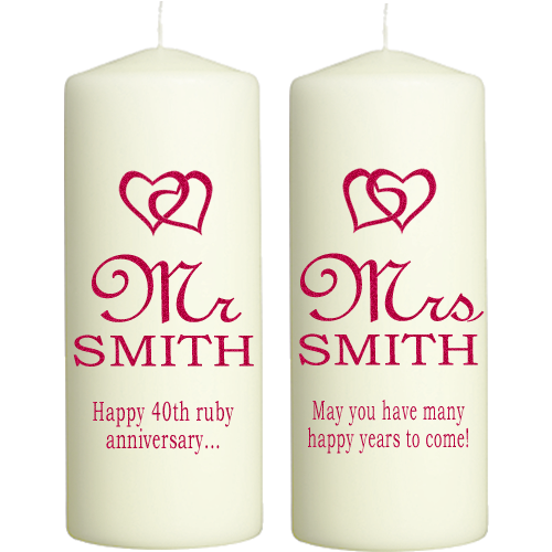 Ruby Wedding Anniversary Gifts Uk: Ruby Wedding Anniversary Candles Personalised