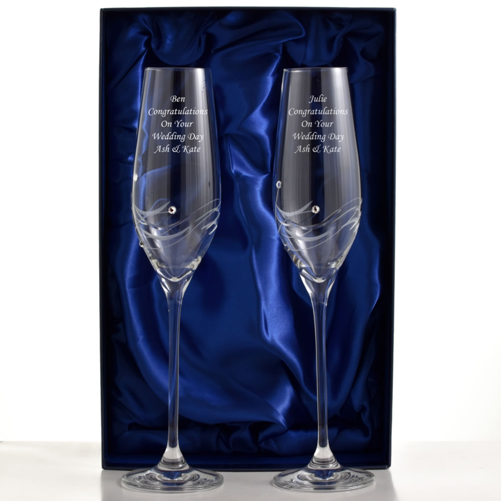 Engraved Champagne Flutes With Beautiful Swarovski Crystals - Click Image to Close