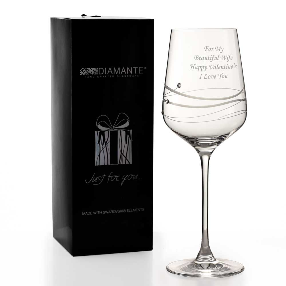 360c0457a51 Personalised Wine Glass Adorned With Beautiful Swarovski Crystals