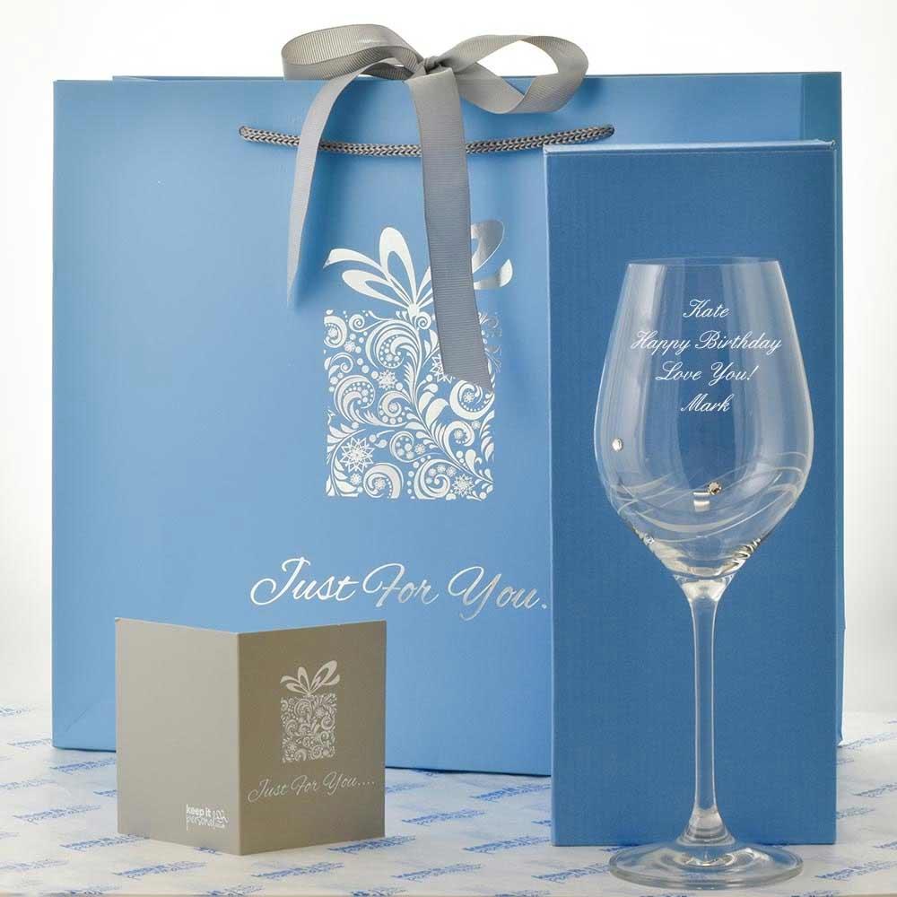 Engraved Spiral Diamante Crystal Wine Glass With Swaroski