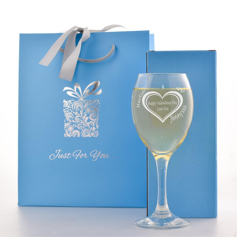 Personalised Valentines Day Wine Glass Gift