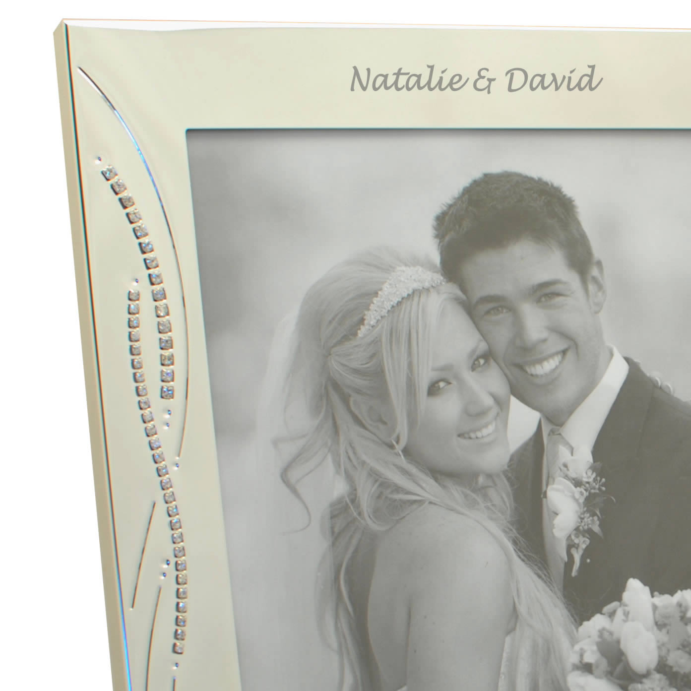 Engraved Silver Wedding Photo Frame With Diamante Crystals