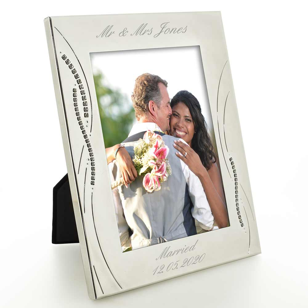 Engraved Silver Wedding Photo Frame With Diamante Crystals - Click Image to Close