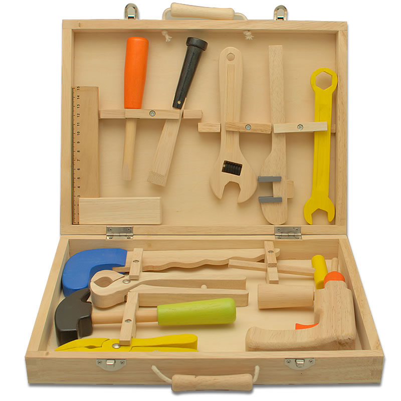 Toy Tool Set : Personalised children s wooden toy tool set engraved by