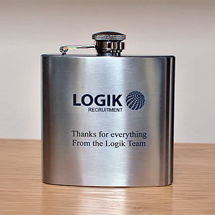logo engraved hip flask