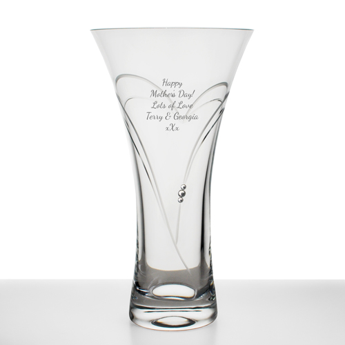 Personalised Swarovski Crystal Heart Vase Engraved By Keepitpersonal