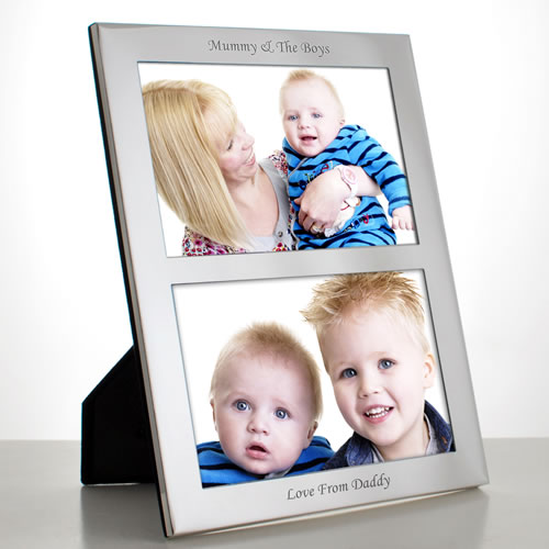 Personalised Silver Plated Double Photo Frame