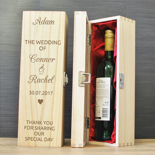 Wedding Gifts For Ushers And Best Man: Personalised Wedding Day Hinged Wine Box