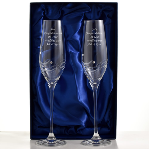 Wedding Gifts Next Day Delivery: Engraved Champagne Flutes With Beautiful Swarovski