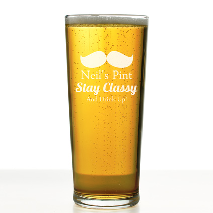 Personalised Pint Glass Moustache Design