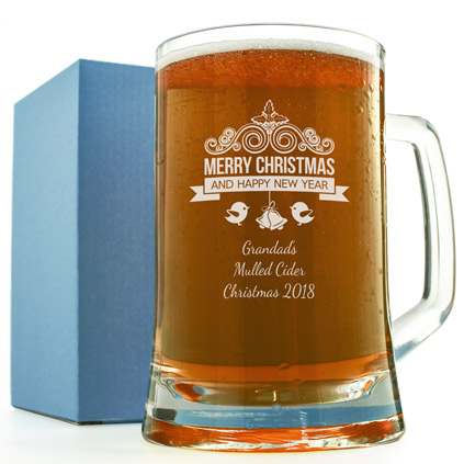 Merry Chistmas Engraved Glass Tankard