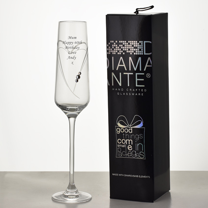 Personalised Heart Champagne Flute With Swarovski Elements