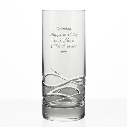 Personalised Hi Ball Glass Wave Cut