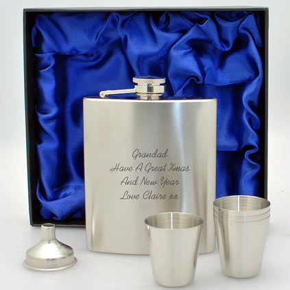 Personalised Hip Flask Set