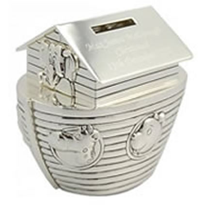 Noah's Ark personalised money box engraved with any message.