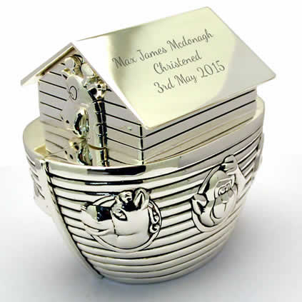 Silver Personalised Noahs Ark Money Box