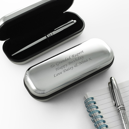 Silver Engraved Pen And Personalised Gift Box