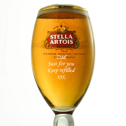 Personalised 1 Pint STELLA ARTOIS Branded Beer Glass Chalice Engraved Gift