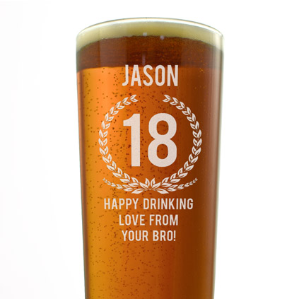 Personalised Pint Glass - Wreath Design