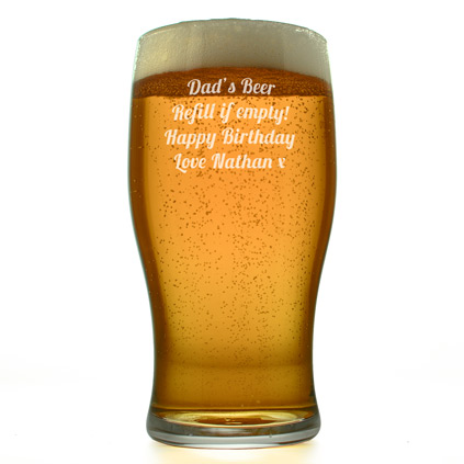 Engraved Beer Glass Traditional Pint Glass