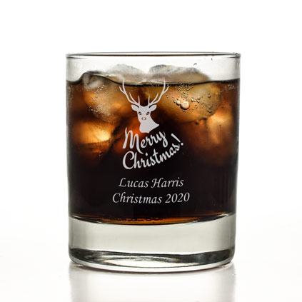 Merry Christmas Personalised Whisky Glass