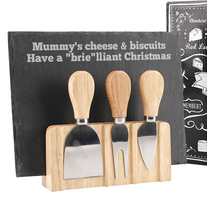 Personalised Slate Cheeseboard And Knife Set