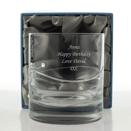Personalised Whisky Glass With Swarovski Elements