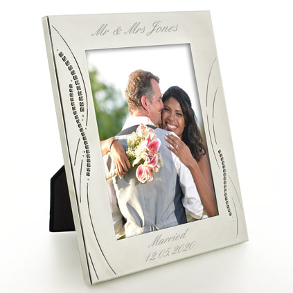 engraved silver wedding photo frame with diamante crystals - Engraved Picture Frame