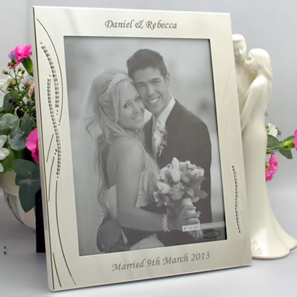 ... Frames Engraved Silver Wedding Photo Frame With Diamante Crystals